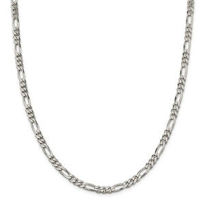 Sterling Silver 5.5mm Figaro Chain- Lobster Clasp
