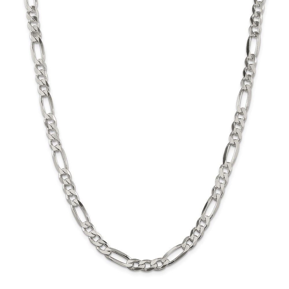 Sterling Silver 6.75mm Figaro Chain- Lobster Clasp