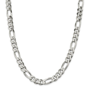 Sterling Silver 10.75mm Figaro Chain- Lobster Clasp