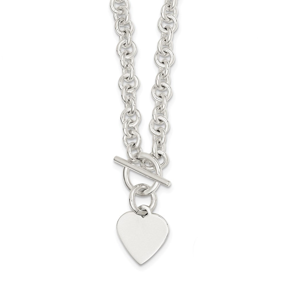 Sterling Silver 19x16.5mm Engraveable Heart Disc on 5.5mm Fancy Link Toggle Necklace