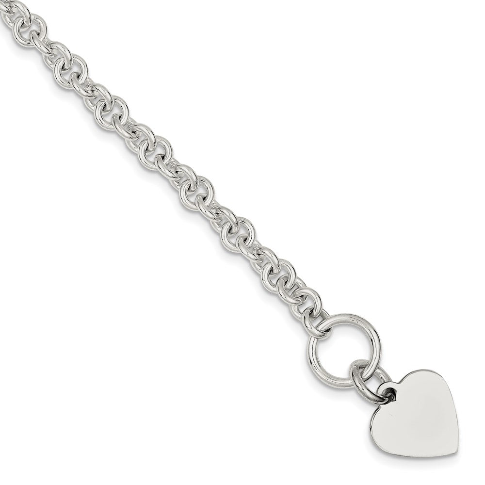 Sterling Silver 19x16.5mm Engraveable Heart Disc on 5.5mm Fancy Link Toggle Bracelet