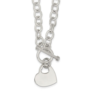 Sterling Silver Engraveable Heart Disc on Fancy Link Toggle Necklace