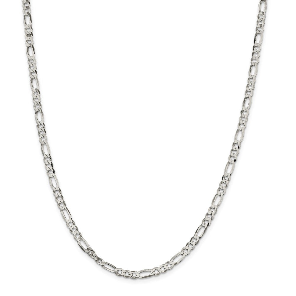 Sterling Silver 4.5mm Polished Flat Figaro Chain- Lobster Clasp
