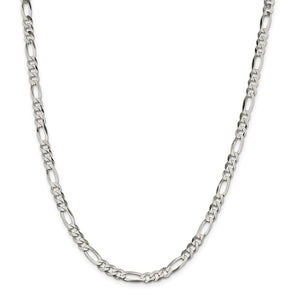 Sterling Silver 5.5mm Polished Flat Figaro Chain- Lobster Clasp