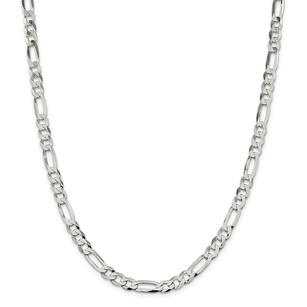 Sterling Silver 7.5mm Polished Flat Figaro Chain- Lobster Clasp