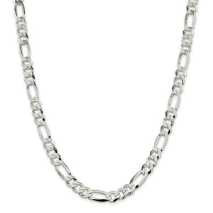 Sterling Silver 8.5mm Polished Flat Figaro Chain- Lobster Clasp