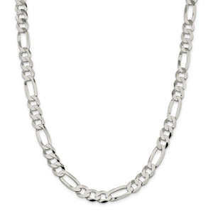 Sterling Silver 9.5mm Polished Flat Figaro Chain- Lobster Clasp