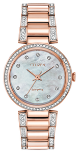 Silhouette Crystal Pink Gold-Tone Mother-of-Pearl - Citizen Eco Drive