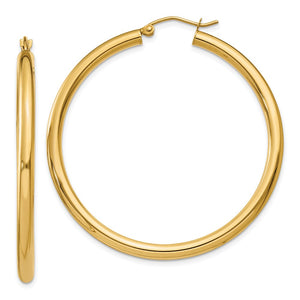 14k Yellow Gold Polished 3mm Lightweight Tube Hoop Earrings 15mm - 65mm