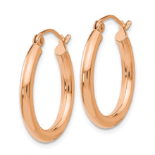 Load image into Gallery viewer, 14k Rose Gold Polished 2.5mm Lightweight Tube Hoop Earring 17mm - 45mm