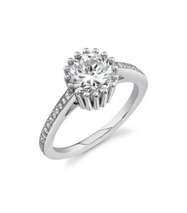Danhov Engagement Ring, Round Cut Cubic Zirconia - Le Vive Jewelry in Riverside