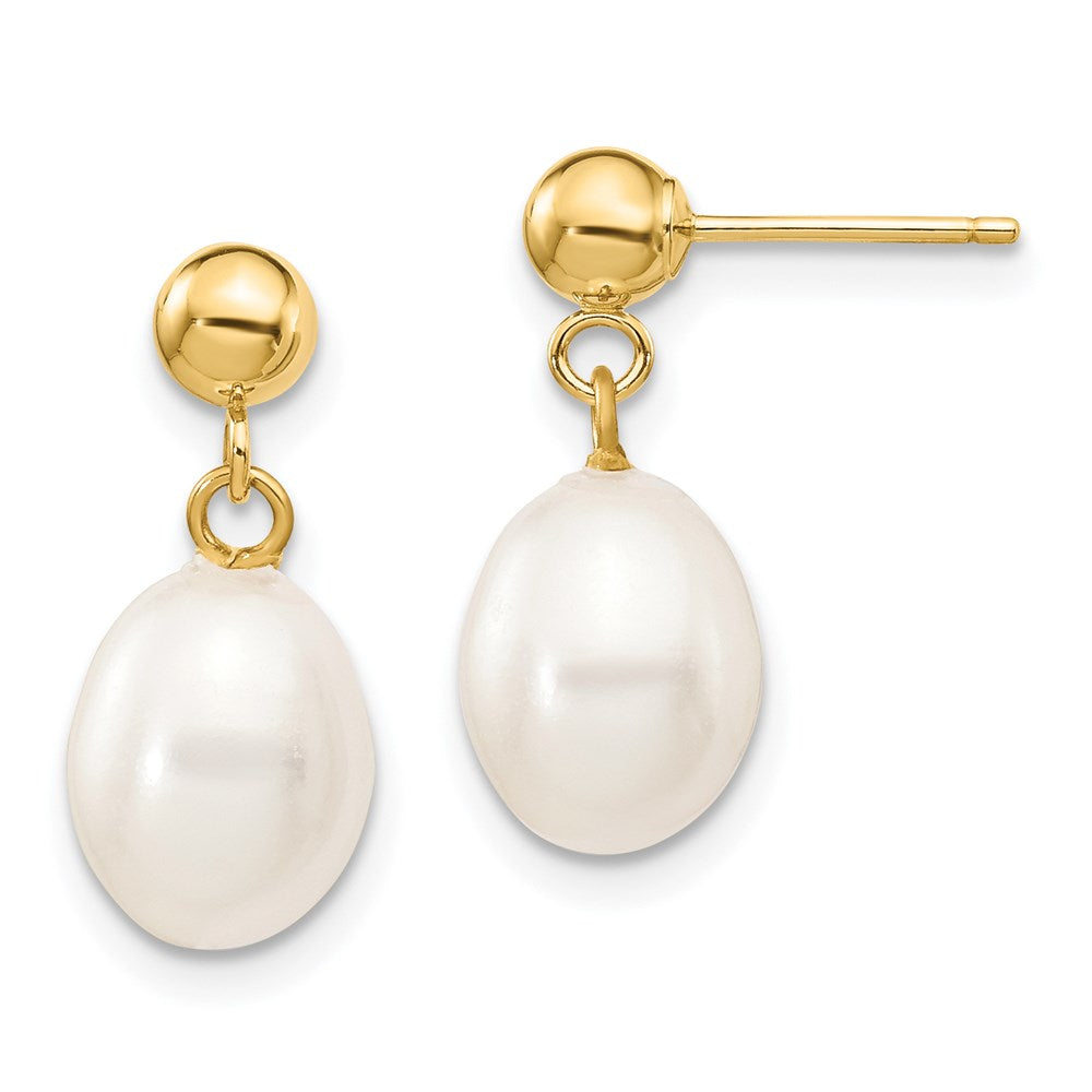14k 7-8mm White Rice Freshwater Cultured Pearl Dangle Post Earrings