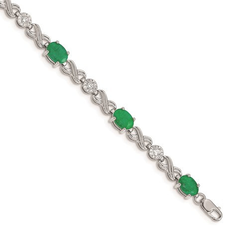 14K White Gold Diamond And Emerald Infinity Bracelet