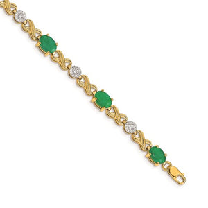 14K Yellow Diamond And Emerald Infinity Bracelet