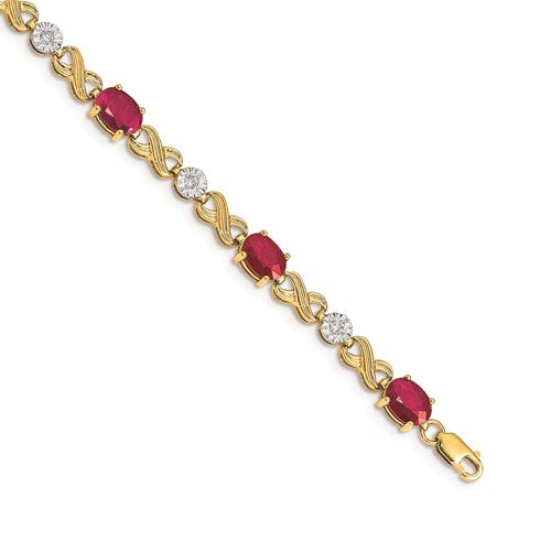 14K Yellow Gold Ruby And Diamond Bracelet With Infinity Link