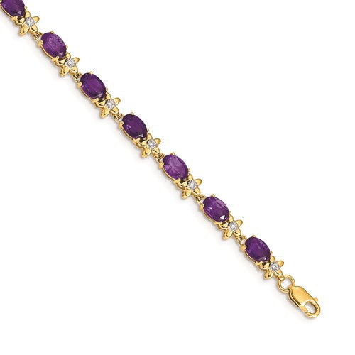 14k Yellow Gold Floral Diamond/Amethyst Bracelet
