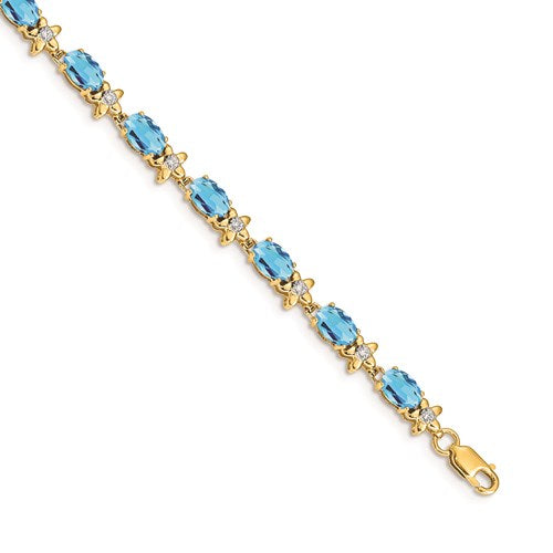 14k Yellow Gold Floral Diamond/Blue Topaz Bracelet