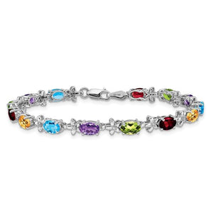 14k White Gold Rainbow Floral Gemstone/Diamond Bracelet