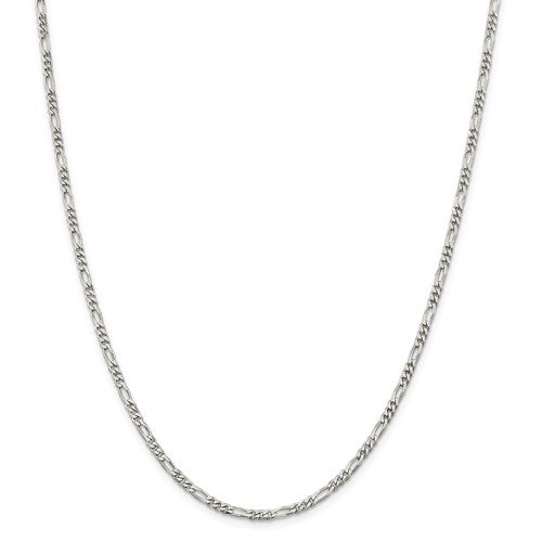 Sterling Silver 3mm Figaro Chain - Lobster Clasp