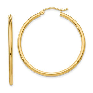 14K Polished 2mm Tube Hoop Earrings 35mm
