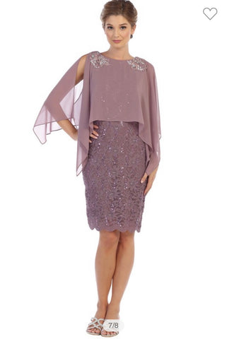 Lace Cape Cocktail Dress