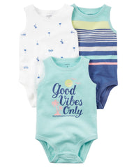 Set de 3 Bodys Good Vibes | Pañalero | Carters - Bebe2go.com
