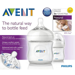 Set de 2 Biberones Natural 125ml/4oz | Mamilas | Avent - Bebe2go.com