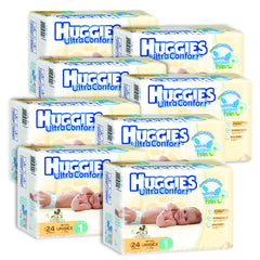 Caja de Huggies Ultraconfort E1 8 Paquetes - 192 pañales | Pañales | Huggies Ultraconfort - Bebe2go.com