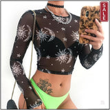 Sweetown Moon And Galaxy Print Summer 2019 Mesh T-Shirt Women Long Sleeve Gothic Crop Top Knitted Slim Transparent Sexy Tshirts-crop top-Menace Def. | Menace Definition | Gothic Lingerie | Alternative Clothing