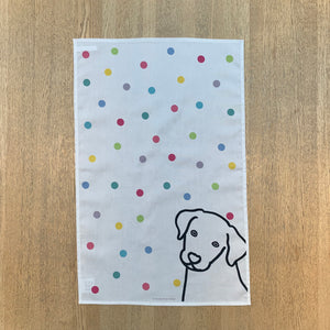 Dog on Spots Tea Towel