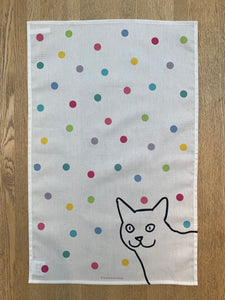 Cat on Spots Tea Towel