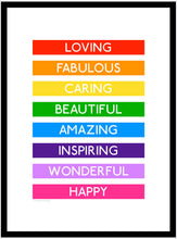 Load image into Gallery viewer, Loving Rainbow 'Destination' Framed Print