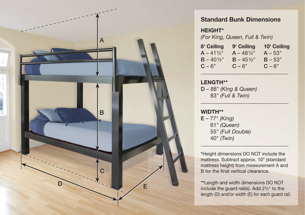 adult bunk bed sizes