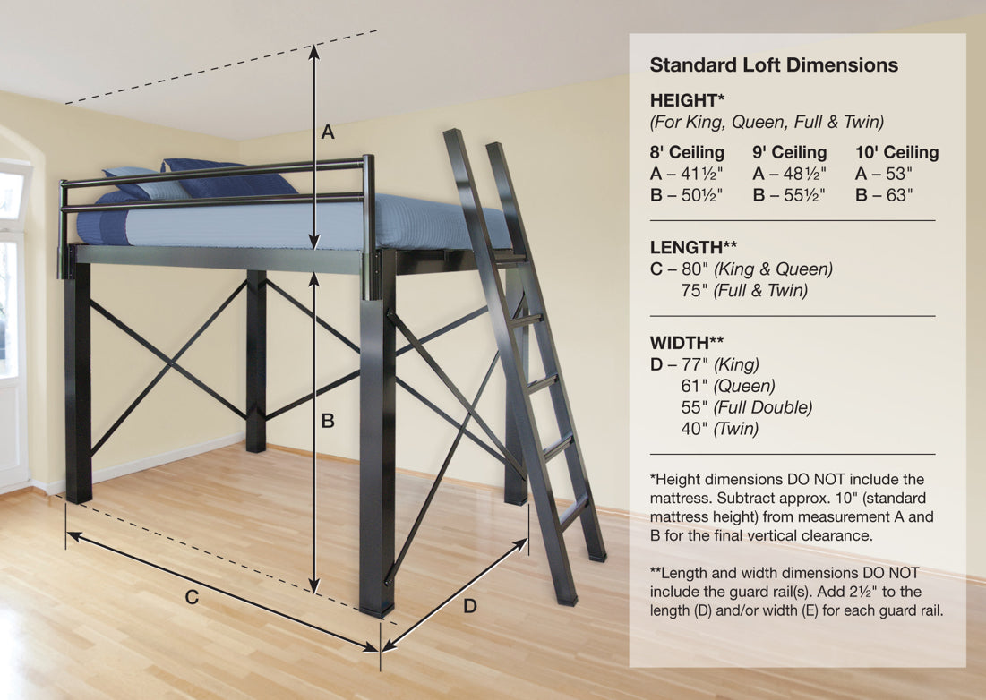 Queen Loft Bed - Francis Lofts & Bunks