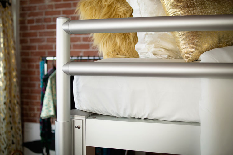 queen loft bed silver closeup
