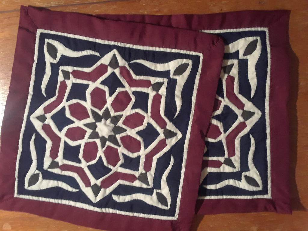 Maroon Handmade Egyptian Khayameya Pillow Case