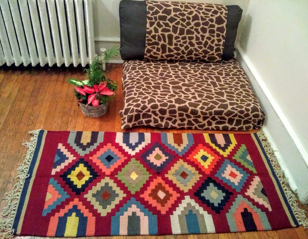 Colorful Diamonds on Red (Kilim Snoun)
