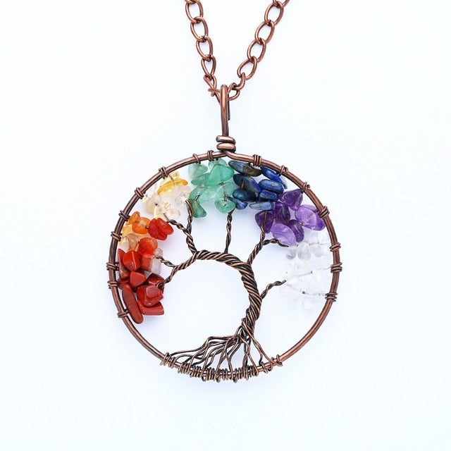 TREE of LIFE Chakra 7 Stone Healing Necklace