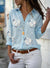Fashion V Neck Long Sleeve Floral Shirts