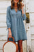 Puff Sleeves Babe Blue Denim Mini Dress