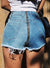 Fashion Casual High Waist Front Back Zipper Fly Denim Burrs Hot Shorts