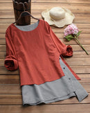 Women Stripe Patchwork Asymmetrical Long Sleeve Casual T-shirts Tops