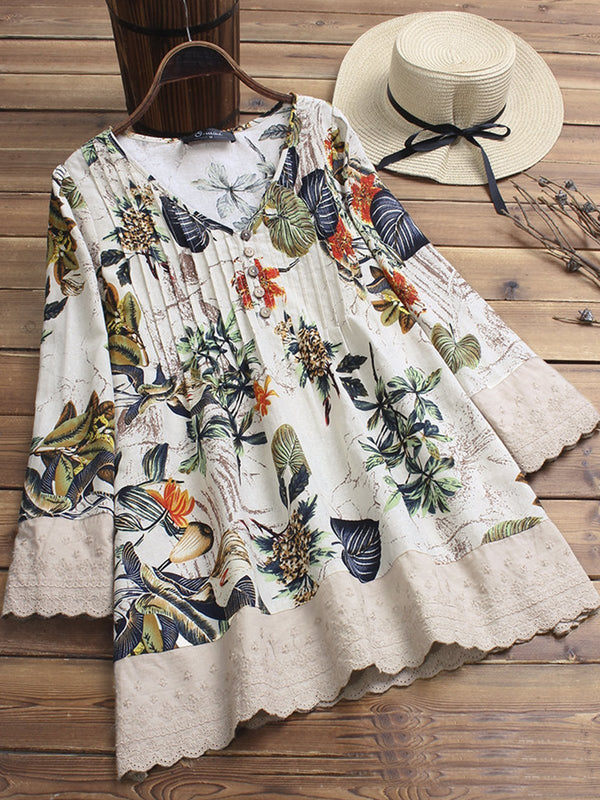 Floral Printed V-neck Long Sleeve Shirt