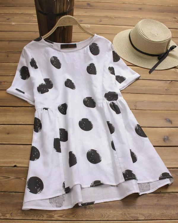 Women Polka Dot Print O-neck Short Sleeve Vintage Blouse