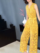Yellow Solid Elegant Jumpsuit