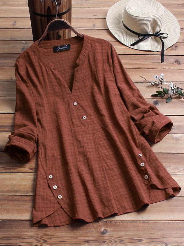 Vintage Plaid Side Button V-neck Long Sleeve Plus Size Shirt