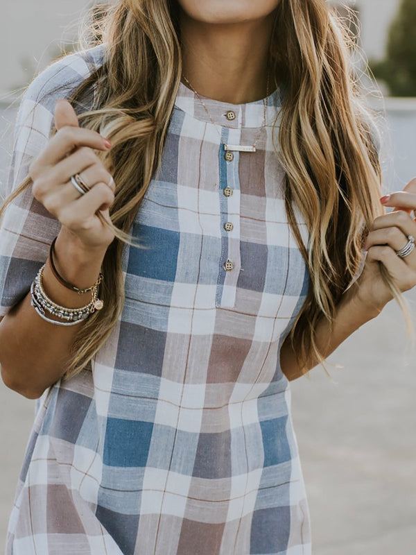 Daily Casual Buttoned Plaid Dress