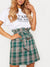 Lace-Up PatchworkDecorative ButtonPlaid Mini Skirts