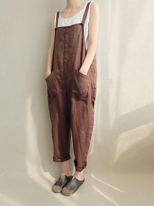 Cotton Solid Pockets Plus Size Casual Jumpsuit