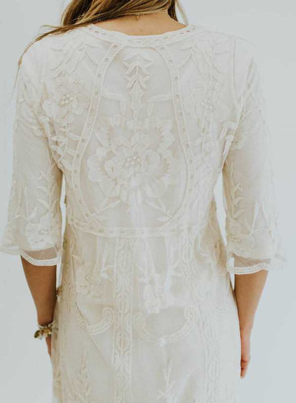 Sweet Casual 3/4 Sleeve Lace Dress